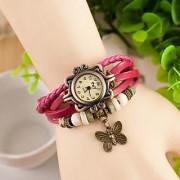 i DIVAS Round Dial Pink Leather Strap Womens Quartz Watch