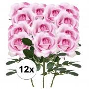 Bellatio flowers & plants 12x Roze rozen Carol kunstbloemen 37 cm