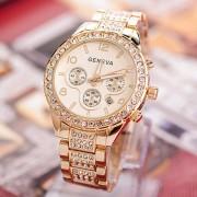 Ceas Geneva auriu cu cristale