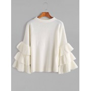 rosegal Layered Sleeve Flouncy Pullover Sweater