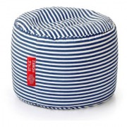 Style Homez Round Cotton Canvas Stripes Printed Bean Bag Ottoman Stool Large with Beans Navy Blue Color