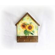 Cuier din lemn handmade - floarea soarelui - 123144
