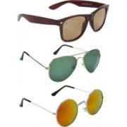 Zyaden Wayfarer, Aviator, Round Sunglasses(Brown, Green, Multicolor)