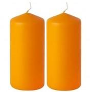 Geen 2x Stompkaarsen oranje 10 cm