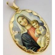 Zlatá smaltovaná madonka s dítětem ze žlutého zlata 585/4,65gr 3320088