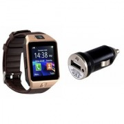 Zemini DZ09 Smart Watch and Car Charger for SONY xperia a(DZ09 Smart Watch With 4G Sim Card Memory Card| Car Charger)