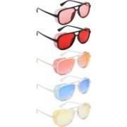 NuVew Wayfarer, Shield Sunglasses(Orange, Red, Golden, Blue, Yellow, Violet)