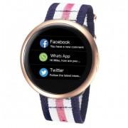 "Smartwatch MyKronoz ZeRound 2 HR Premium, Ecran Touchscreen TFT 1.22"", 64MB RAM, 256MB Flash, Bluetooth, Bratara Piele, Rezistent la apa si praf (Roz)"