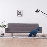 vidaXL Разтегателен диван с подлакътници, таупе, полиестер