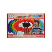 Domino din lemn colorat, 100 piese/cutie