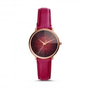 Fossil Women Prismatic Galaxy Three-Hand Fuchsia Leather Watch Red - One size