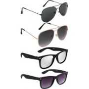 NuVew Aviator, Wayfarer Sunglasses(Green, Grey, Silver, Violet)