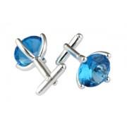 Mousie Bean Crystal Cufflinks CZ Round 147 Aqua