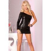 Glitterati crna mini haljina sa jednim rukavom PINKLIP069
