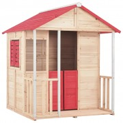 vidaXL Kids Play House Fir Wood Red