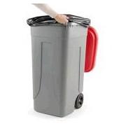 Socepi Bidone pattumiera raccolta indifferenziata da 100 litri con ruote e coperchio di colore rosso