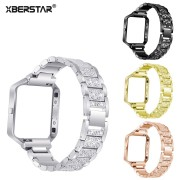 XBERSTAR Watchband for Fitbit Blaze Smart Fitness Watch Replacement Strap Band Rhinestone Stainless Steel with Frame 4 Colors