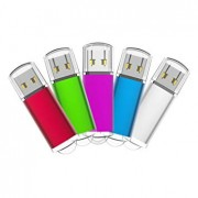KEATHY USB Flash Drives 32G 5 Pack USB 2.0 Thumb Drives Memory Stick Pen Drives Data Storage (Mixcolors: Green Red Pink Silver Blue)