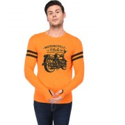 TRENDS TOWER Full Sleeve Round Neck Thumb Ring Mens T-Shirt Orange Color Motor Cycle Club Graphics Print