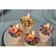 Designkaarsen com 3x Bloemenkaarsen in pot - kaarsen