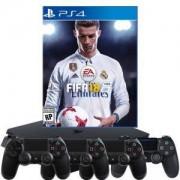 BUNDLE за ПРИЯТЕЛИ Конзола PlayStation 4 Slim 500GB Black (BUNDLE за 4-ма) + Игра FIFA 18 за PlayStation 4 + 3 допълнителни ГЕЙМПАДА
