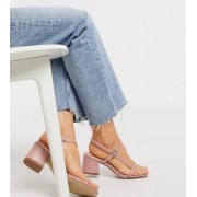 New Look Wide Fit leather look croc block heel sandal in light pink - female - Pink - Size: 6