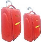 """Aqeeq Stylish Red Vintage Combo Trolley Set Of 18"""" & 20"""" Cabin Luggage Bag( Navy Blue,Purple,Grey,Red,Black,Turquoise) Cabin Luggage - 20 inch(Red)"""