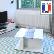 Llio coffee table with bar compartment - dcor white and concrete