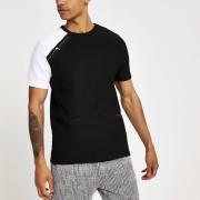 River Island Mens Black Maison Riviera tape slim fit T-shirt (XXS)