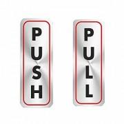 REBUY Stainless Steel Pull Push Metal Signboard for Glass Doors Self Adhesive Waterproof Pull Push Signage Board fo