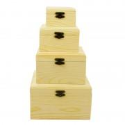Set 4 cutii din lemn patrate cu capac