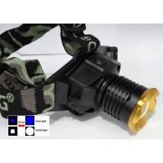 Dual light 200w Fejlámpa 2led kék/fehér led Beépített Akkumulátorral Cree Led Zoom BL-6905