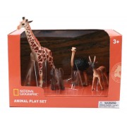 Set 4 figurine Girafa, Elefantel, Strut si Antilopa National Geographic, 3 ani+