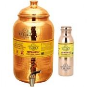 Taluka Pure Copper Handmade Water Pot Tank Matka Dispenser 2000 ML Capacity with Set 1 Copper Bottle Water Bottle Joint free - Leak Proof Bottle 1000 ML For Kitchen Good Health Benefit