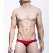 Mategear Ran Kwang Flat Front Reduced Sides Series II Extremely Sexy Mini Boxer Brief Underwear Red 1091202