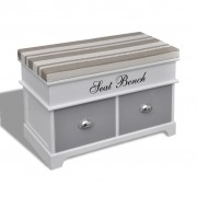vidaXL White Storage & Entryway Bench with Grey Cushion Top 2 Drawer