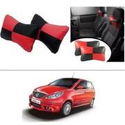 AutoStark Designer Car Seat Neck Cushion Pillow - Red and Black Colour For Tata Vista Tech