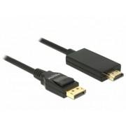 Cablu Displayport 1.2 la HDMI pasiv 4K 1m Negru T-T, Delock 85316
