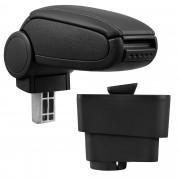 Středová loketní opěrka - vhodná pro: Fiat Grande Punto (Rok výroby od 09/2005) - umělá kůže - Černá s černými švy