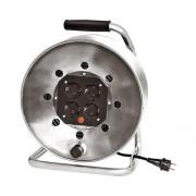 Prelungitor electric pe tambur metalic 4 prize 25m cablu cauciuc 3x1,5 mm²