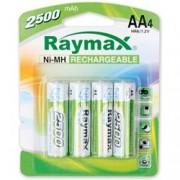 Raymax Batteries Blister 4 Batterie Ricaricabili Stilo AA 2500 mAh