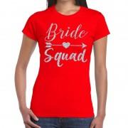 Bellatio Decorations Bride Squad Cupido zilver glitter t-shirt rood dames