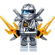 LEGO Ninjago Minifigure - Zane Titanium Ninja with Gold & Silver weapons