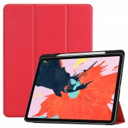 For iPad Pro 12.9-inch (2018) PU Leather Tri-fold Stand Tablet Phone Casing [with Pen Slot] - Red