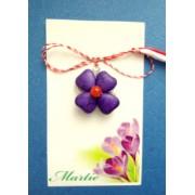 Martisor handmade cu floare mov