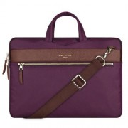 13.3 inch Cartinoe Fashion London Style Exquisite Zipper Portable Handheld Nylon+PU Laptop Bag with Removable Shoulder Strap for MacBook Lenovo and other Laptops Internal Size:36.0x25.0x2.5cm(Purple)