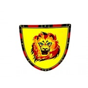 Wooden Toy Children's Shield with Red and Yellow Roaring Lion