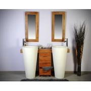 Saniteck Salle bain teck 140 cleopatra blanc tiroirs