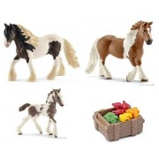 Schleich Tinker Family Set of 3 Horses (Stallion, Mare and Foal) with Feed Bagged ready to give Farm Set