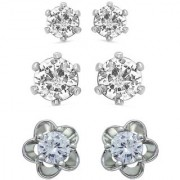 Mahi Rhodium Plated Combo of 3 Classy Solitaire Stud Earrings with Cubic Zirconia Stone(high quality) CO1104668R